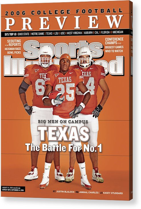 Sports Illustrated Acrylic Print featuring the photograph Texas Jamaal Charles, Justin Blalock, And Kasey Studdard Sports Illustrated Cover by Sports Illustrated
