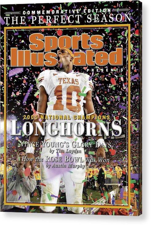 Magazine Cover Acrylic Print featuring the photograph Texas Qb Vince Young, 2006 Rose Bowl Sports Illustrated Cover by Sports Illustrated