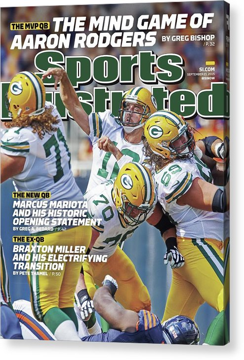 Magazine Cover Acrylic Print featuring the photograph The Mvp Qb The Mind Game Of Aaron Rodgers Sports Illustrated Cover by Sports Illustrated