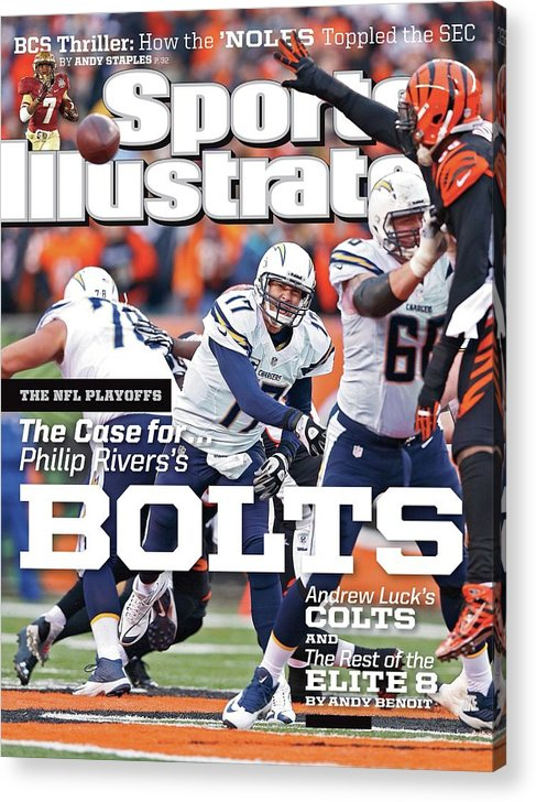 Magazine Cover Acrylic Print featuring the photograph The Nfl Playoffs The Case For . . . Philip Rivers Bolts Sports Illustrated Cover by Sports Illustrated