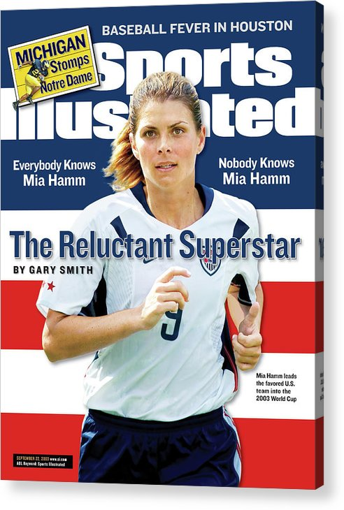 Magazine Cover Acrylic Print featuring the photograph The Reluctant Superstar Everybody Knows Mia Hamm, Nobody Sports Illustrated Cover by Sports Illustrated