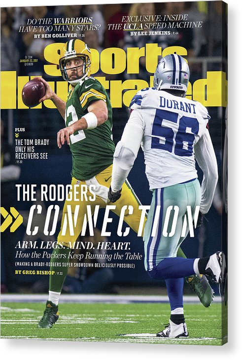 Playoffs Acrylic Print featuring the photograph The Rodgers Connection Arm. Legs. Mind. Heart. Sports Illustrated Cover by Sports Illustrated
