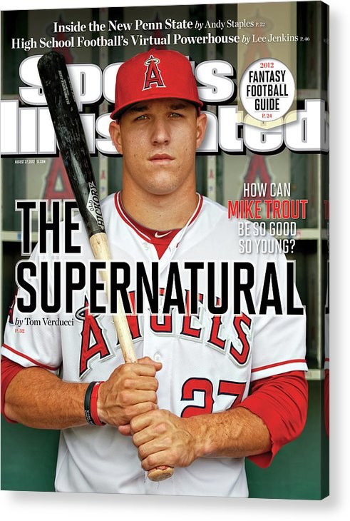 Magazine Cover Acrylic Print featuring the photograph The Supernatural How Can Mike Trout Be So Good So Young Sports Illustrated Cover by Sports Illustrated