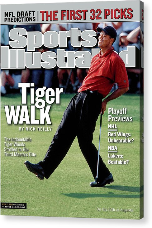 Magazine Cover Acrylic Print featuring the photograph Tiger Woods, 2002 Masters Sports Illustrated Cover by Sports Illustrated