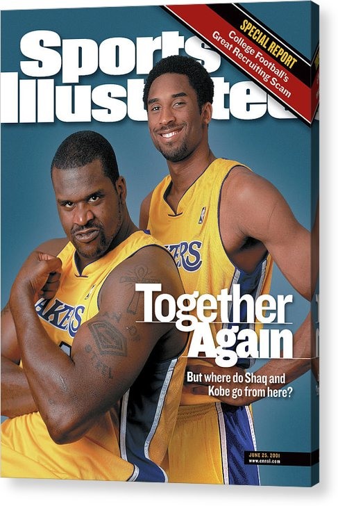Nba Pro Basketball Acrylic Print featuring the photograph Together Again But Where Do Shaq And Kobe Go From Here Sports Illustrated Cover by Sports Illustrated