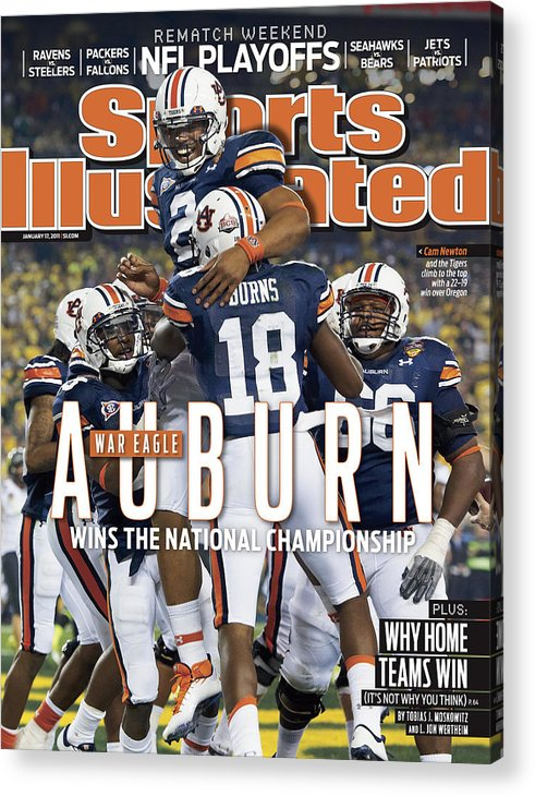 Magazine Cover Acrylic Print featuring the photograph Tostitos Bcs National Championship Game - Oregon V Auburn Sports Illustrated Cover by Sports Illustrated