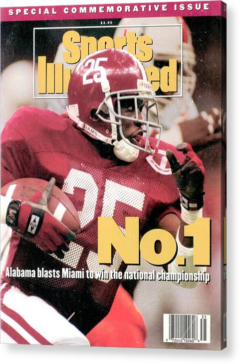 Magazine Cover Acrylic Print featuring the photograph University Of Alabama Derrick Lassic, 1993 Usf&g Financial Sports Illustrated Cover by Sports Illustrated