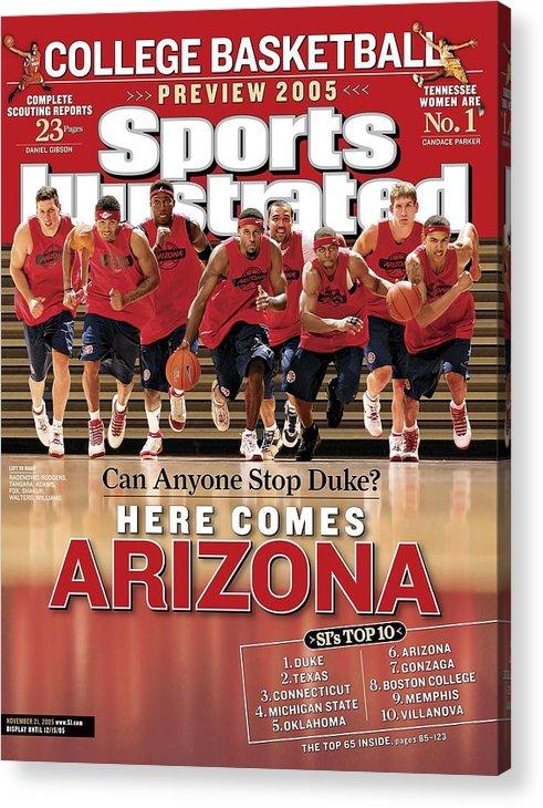 Mustafa Shakur Acrylic Print featuring the photograph University Of Arizona Basketball Team Sports Illustrated Cover by Sports Illustrated