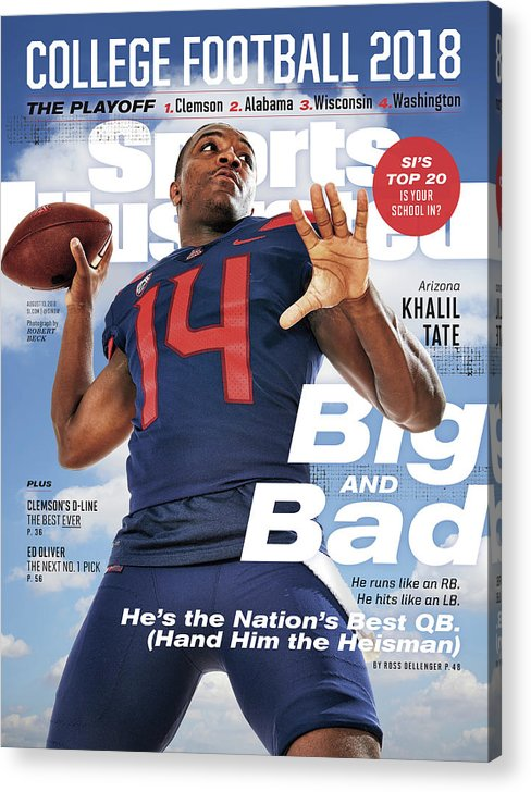 Magazine Cover Acrylic Print featuring the photograph University Of Arizona Khalil Tate, 2018 College Football Sports Illustrated Cover by Sports Illustrated