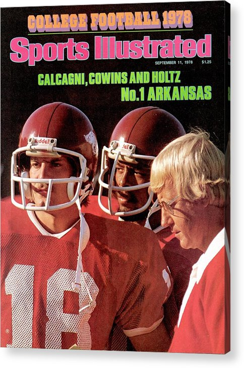 Season Acrylic Print featuring the photograph University Of Arkansas Coach Lou Holtz, Qb Ron Calcagni Sports Illustrated Cover by Sports Illustrated