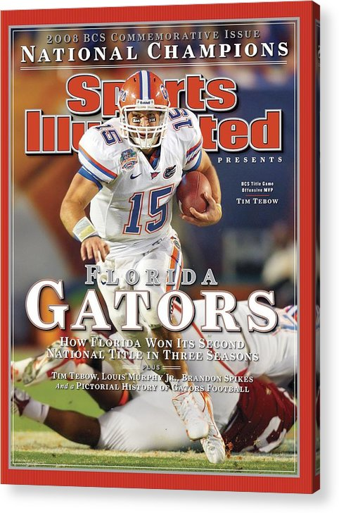 Hard Rock Stadium Acrylic Print featuring the photograph University Of Florida Florida Qb Tim Tebow, 2009 Fedex Bcs Sports Illustrated Cover by Sports Illustrated