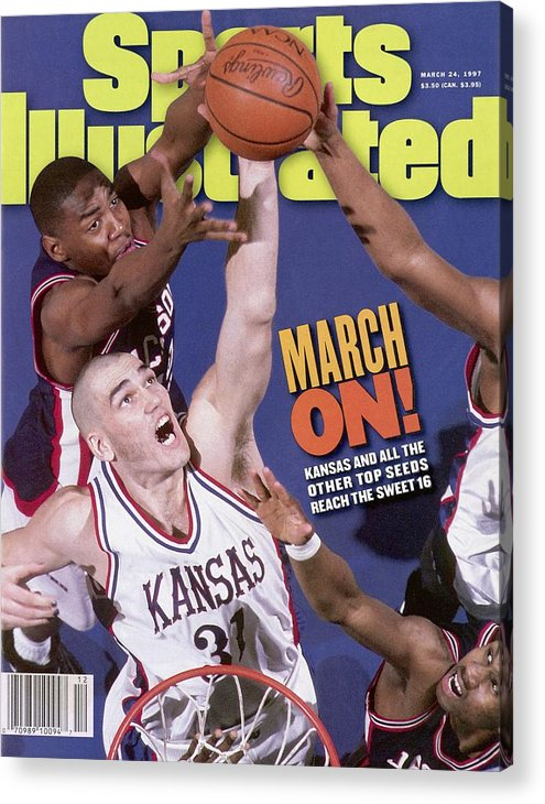 Playoffs Acrylic Print featuring the photograph University Of Kansas Scot Pollard, 1997 Ncaa Southeast Sports Illustrated Cover by Sports Illustrated
