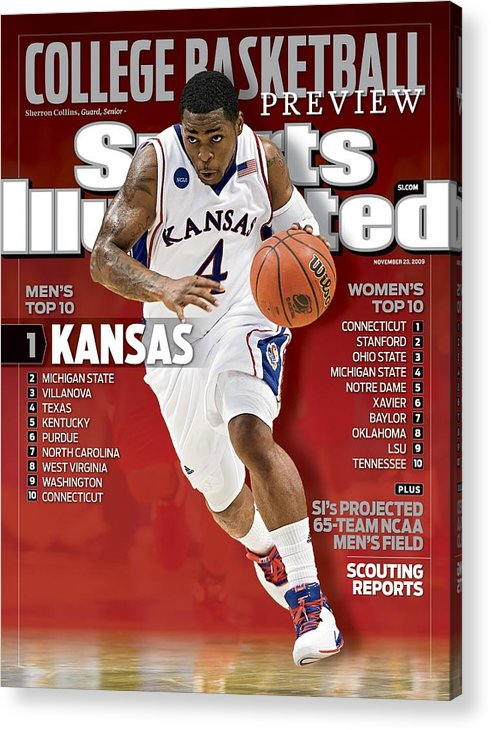 Hubert H. Humphrey Metrodome Acrylic Print featuring the photograph University Of Kansas Sherron Collins, 2009 Ncaa Midwest Sports Illustrated Cover by Sports Illustrated