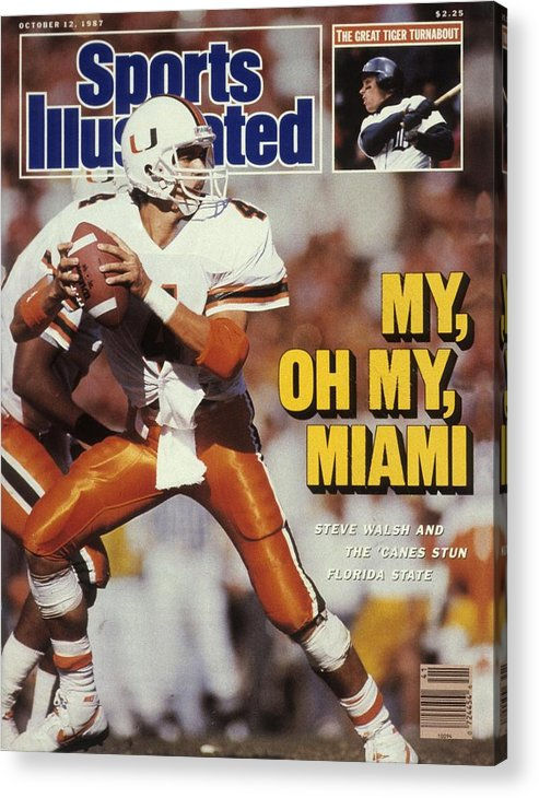 1980-1989 Acrylic Print featuring the photograph University Of Miami Qb Steve Walsh Sports Illustrated Cover by Sports Illustrated