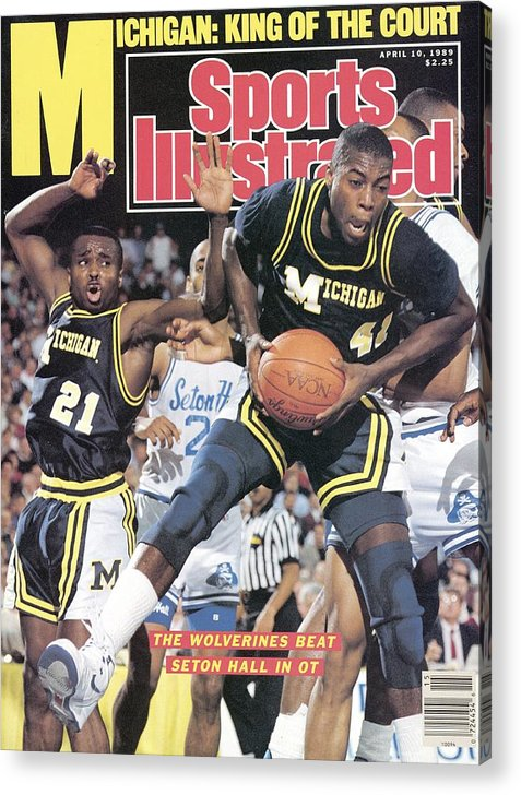 Glen Rice Acrylic Print featuring the photograph University Of Michigan Glen Rice, 1989 Ncaa National Sports Illustrated Cover by Sports Illustrated