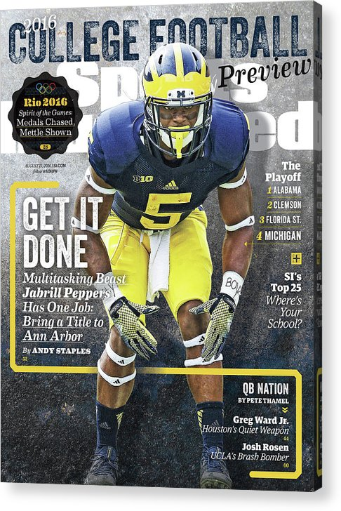 Magazine Cover Acrylic Print featuring the photograph University Of Michigan Jabrill Peppers, 2016 College Sports Illustrated Cover by Sports Illustrated