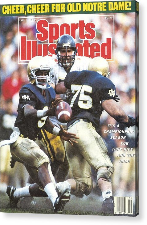 1980-1989 Acrylic Print featuring the photograph University Of Notre Dame Qb Tony Rice, 1989 Fiesta Bowl Sports Illustrated Cover by Sports Illustrated