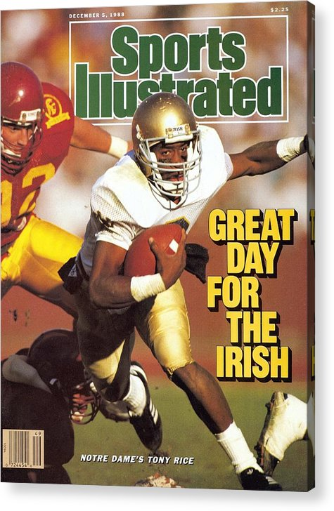 1980-1989 Acrylic Print featuring the photograph University Of Notre Dame Qb Tony Rice Sports Illustrated Cover by Sports Illustrated