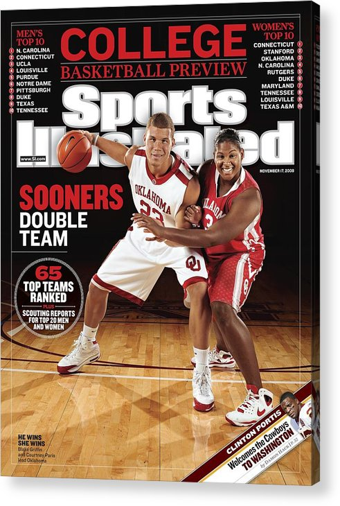 Magazine Cover Acrylic Print featuring the photograph University Of Oklahoma Blake Griffin And Courtney Paris Sports Illustrated Cover by Sports Illustrated