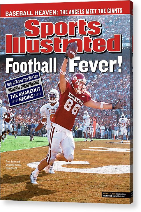 Magazine Cover Acrylic Print featuring the photograph University Of Oklahoma Trent Smith Sports Illustrated Cover by Sports Illustrated