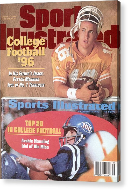 Magazine Cover Acrylic Print featuring the photograph University Of Tennessee Qb Peyton Manning Sports Illustrated Cover by Sports Illustrated