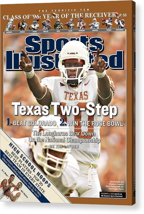 Magazine Cover Acrylic Print featuring the photograph University Of Texas Qb Vince Young Sports Illustrated Cover by Sports Illustrated
