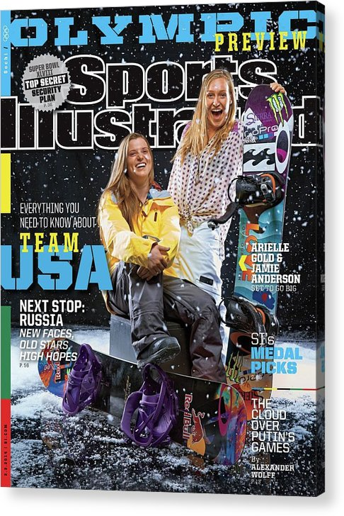 Media Day Acrylic Print featuring the photograph Usa Arielle Gold And Jamie Anderson, 2014 Sochi Olympic Sports Illustrated Cover by Sports Illustrated