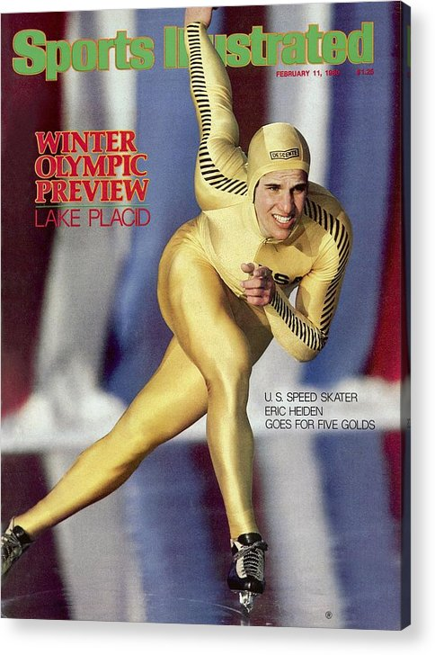 The Olympic Games Acrylic Print featuring the photograph Usa Eric Heiden, 1980 Lake Placid Olympic Games Preview Sports Illustrated Cover by Sports Illustrated