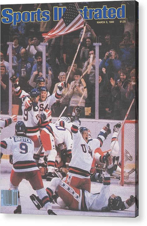 Magazine Cover Acrylic Print featuring the photograph Usa Hockey, 1980 Winter Olympics Sports Illustrated Cover by Sports Illustrated