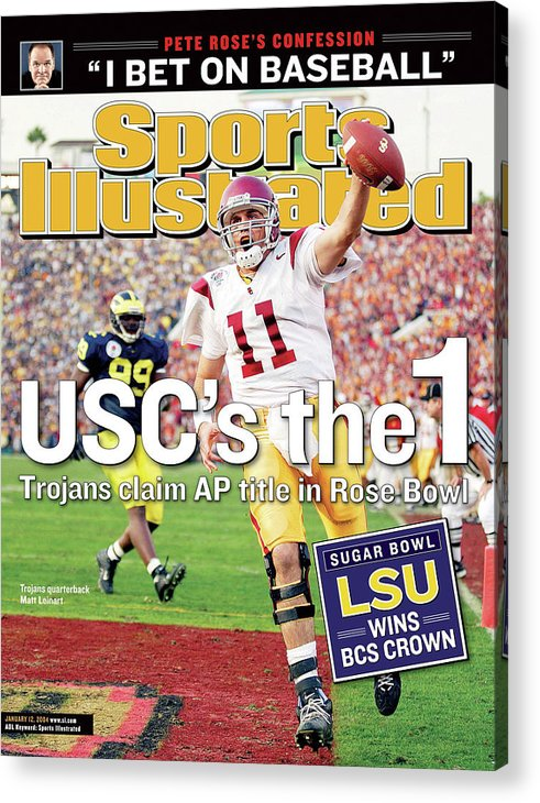 Magazine Cover Acrylic Print featuring the photograph Uscs The 1 Trojans Claim Ap Title In Rose Bowl Sports Illustrated Cover by Sports Illustrated