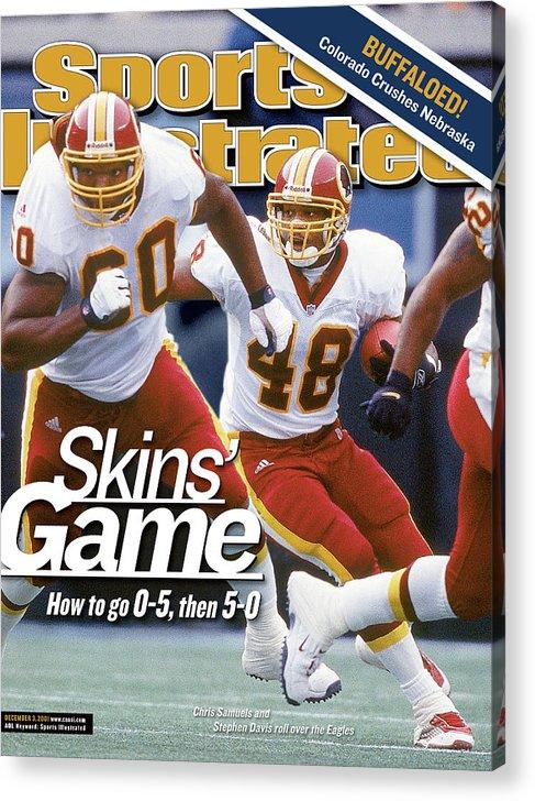 Magazine Cover Acrylic Print featuring the photograph Washington Redskins Stephen Davis... Sports Illustrated Cover by Sports Illustrated