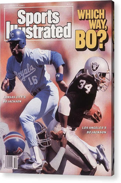 Magazine Cover Acrylic Print featuring the photograph Which Way Bo? Bo Jackson Of Kansas City Royals And Los Angeles Raiders Sports Illustrated Cover by Sports Illustrated