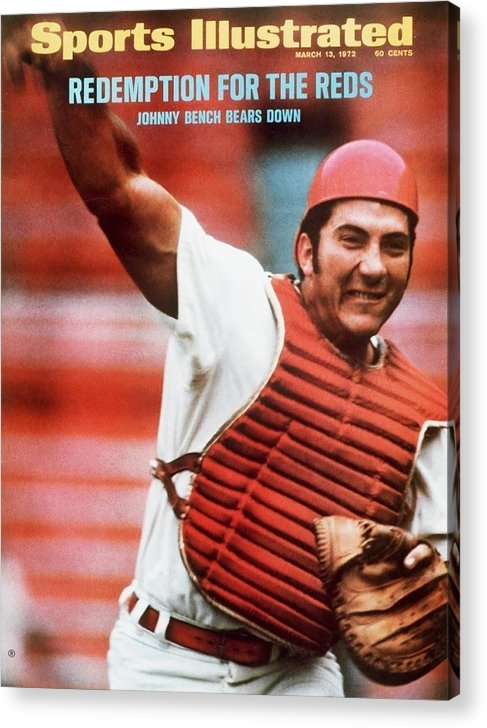 Magazine Cover Acrylic Print featuring the photograph Cincinnati Reds Johnny Bench Sports Illustrated Cover by Sports Illustrated