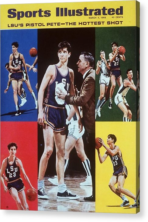 Magazine Cover Acrylic Print featuring the photograph Lsu Pete Maravich Sports Illustrated Cover by Sports Illustrated
