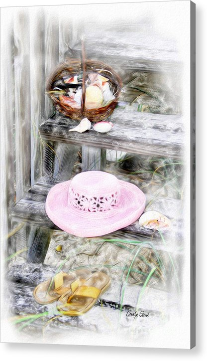Tropical Beach Shells Seashore Acrylic Print featuring the painting Back From the Beach by Carolyn Staut