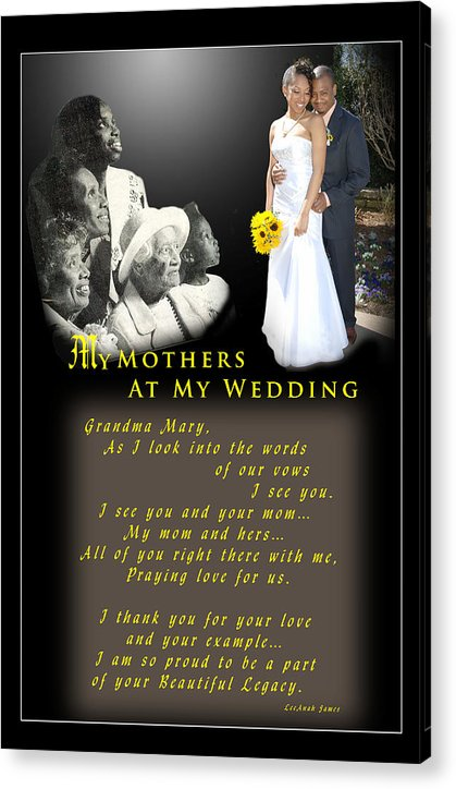 Wedding Acrylic Print featuring the photograph Mothers Blessings by Richard Gordon