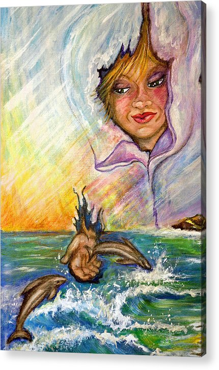 Playful Colorful Dolphin Played With By Young Person Acrylic Print featuring the painting Playing with the Dolphins by Mickie Boothroyd