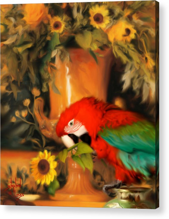 Bird Acrylic Print featuring the digital art Scarlet Badboy by Stephen Lucas