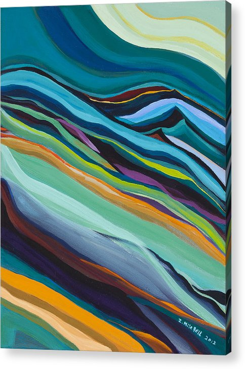 Blue-green Acrylic Print featuring the painting Mountains by Ida Mitchell