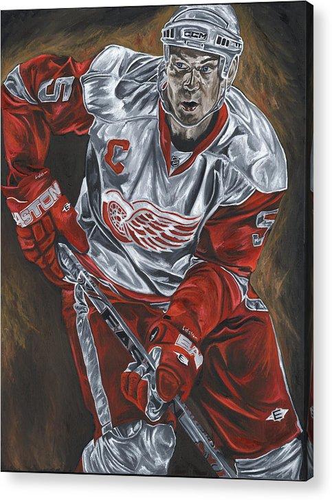 Nicklas Lidstrom Detroit Redwings Hockey Captain David Courson Art Sports Acrylic Print featuring the painting Nicklas Lidstrom by David Courson