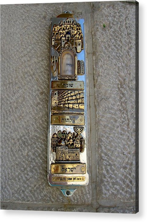 Mezuzah Acrylic Print featuring the photograph The Mezuzah At The Entry To The Kotel Plaza by Susan Heller
