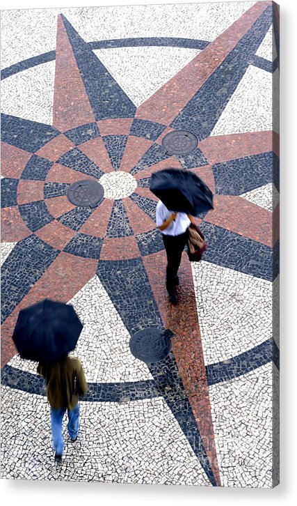 North Acrylic Print featuring the photograph Going North Going South - Umbrellas Series 1 by Carlos Alvim
