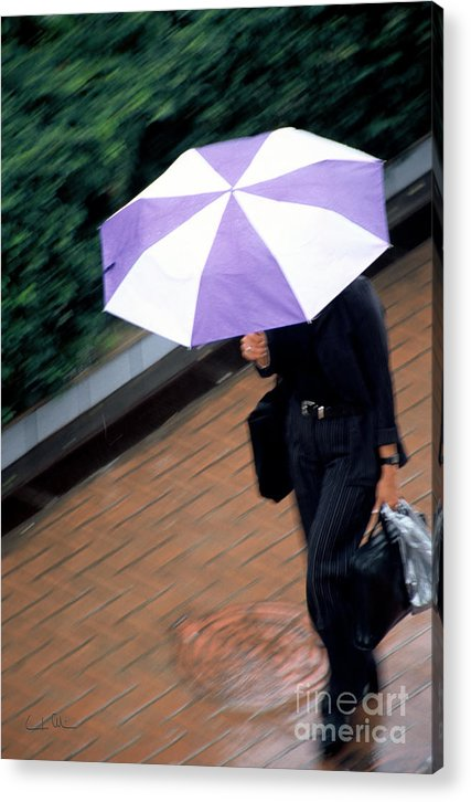 Rain Acrylic Print featuring the photograph Rushing Back - Umbrellas Series 1 by Carlos Alvim