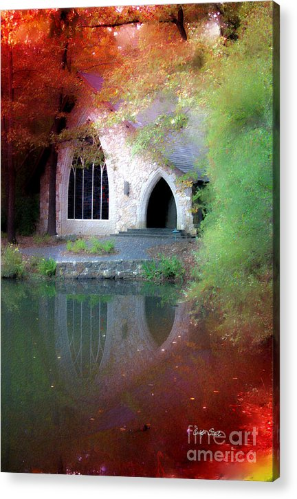 Landscape Fall Church Trees Reflection Sacred Acrylic Print featuring the painting Sacred Silence by Carolyn Staut