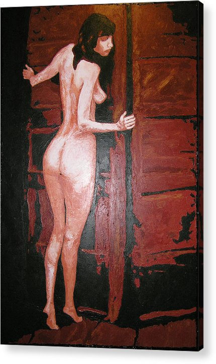 Portrait Acrylic Print featuring the painting Secret by Ricklene Wren