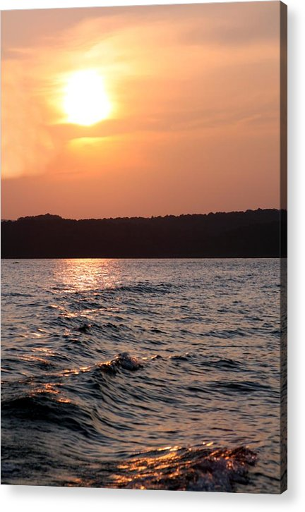 Sunset Acrylic Print featuring the photograph Waves On Greers Ferry Lake by Kenna Westerman