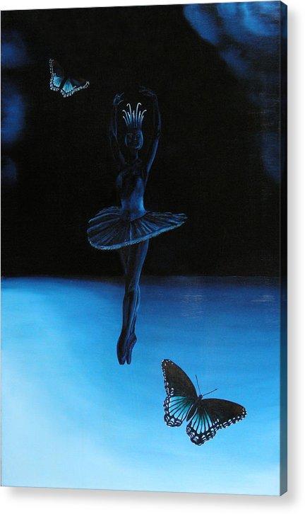 Ballerina. Ballerina Dancing. Blue. Butterfly. Butterflies Acrylic Print featuring the painting Blue Ballerina by Ivan Rijhoff