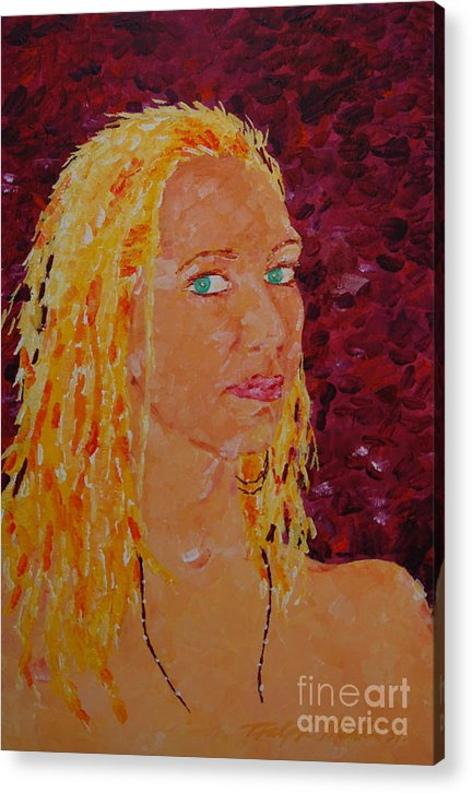 Portraiture Acrylic Print featuring the painting Green Eyed Lady by Art Mantia