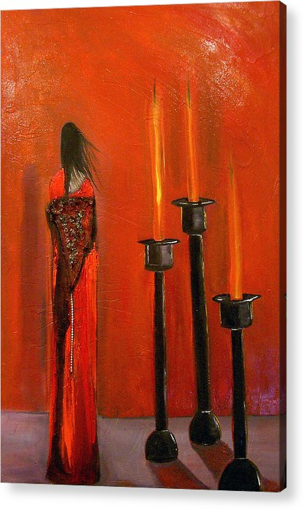 Figurative Candles Red Acrylic Print featuring the painting La Trinadad by Niki Sands