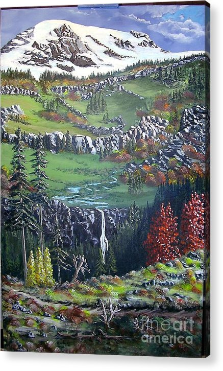 Landscape Acrylic Print featuring the painting Rainier In Fall by John Wise